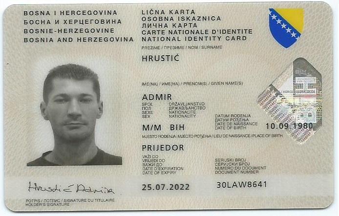 Lična karta a (prednja strana)